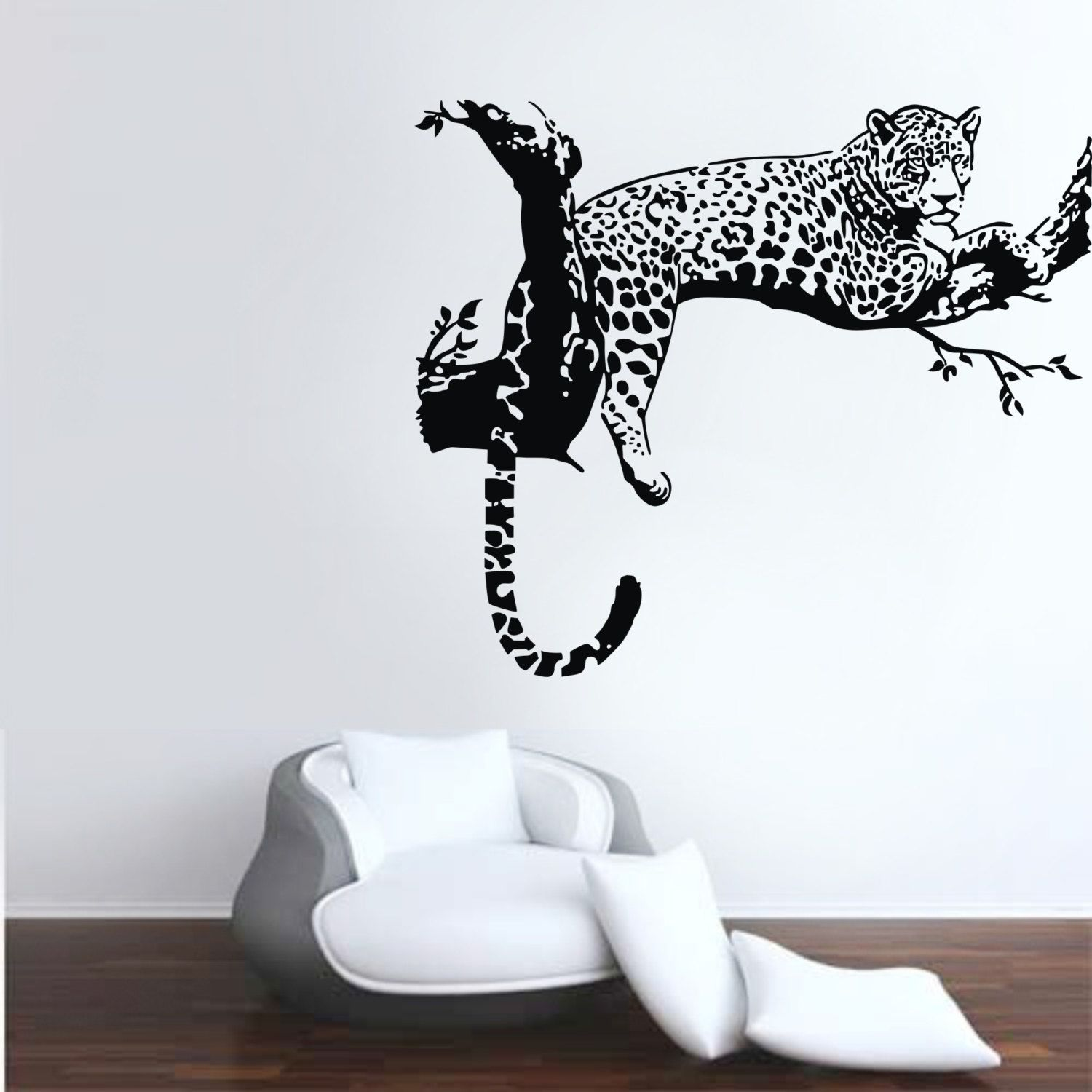 Large Leopard On The Branch Wall Decal Home Decor Animal Wall Decals Leopard Wall Decals Nursery Wall Decals