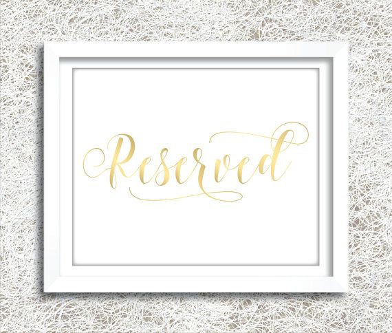 printable gold reserved sign instant download gold wedding