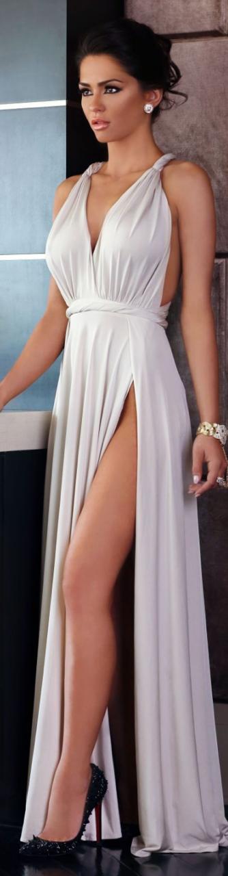 White ruching dress.