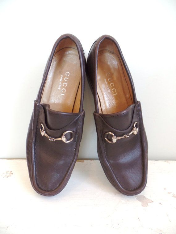 5d875350a96 Vintage Gucci Horsebit Loafers in Brown Leather by BerkshireJules ...
