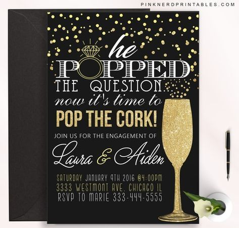 Engagement party invitation, Popped the question #engagementparty
