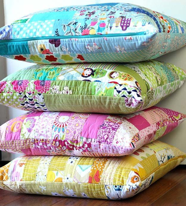 DIY Pillows and Fun Pillow Projects - DIY Color Strips Scrap Floor Pillows Tutorial - Creative Decorative Cases and Covers Throw Pillows Cute anu2026 & DIY Pillows and Fun Pillow Projects - DIY Color Strips Scrap Floor ...