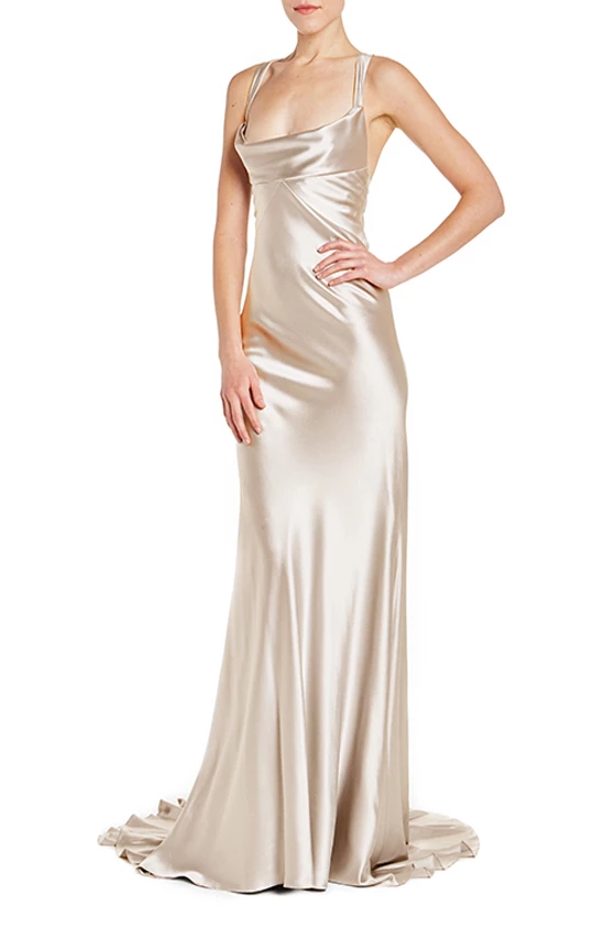 Cowl Neck Sheath Gown 4 / LATTE Sparkly prom dresses