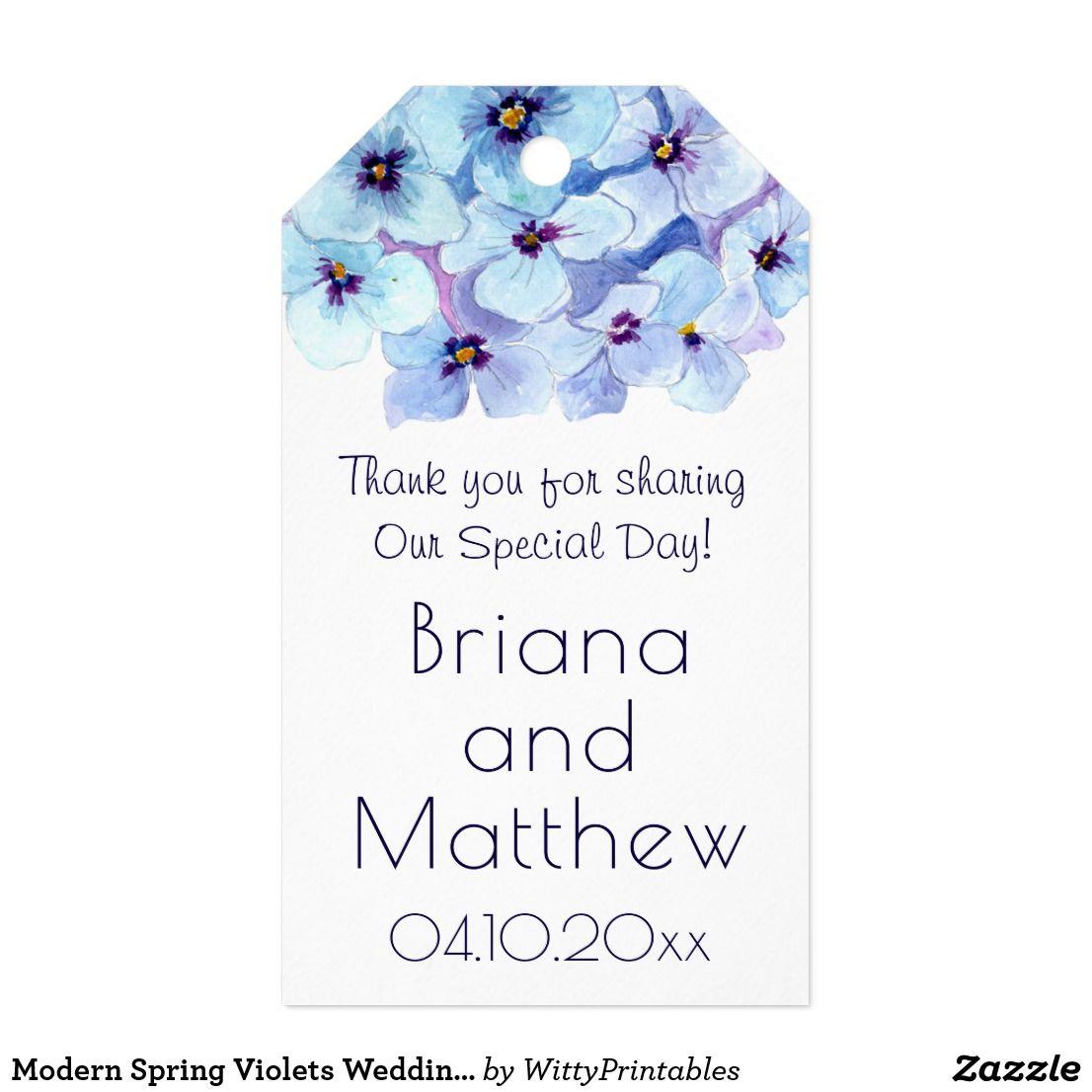 Modern Spring Violets Wedding Favors Gift Tag | Favors, Floral ...