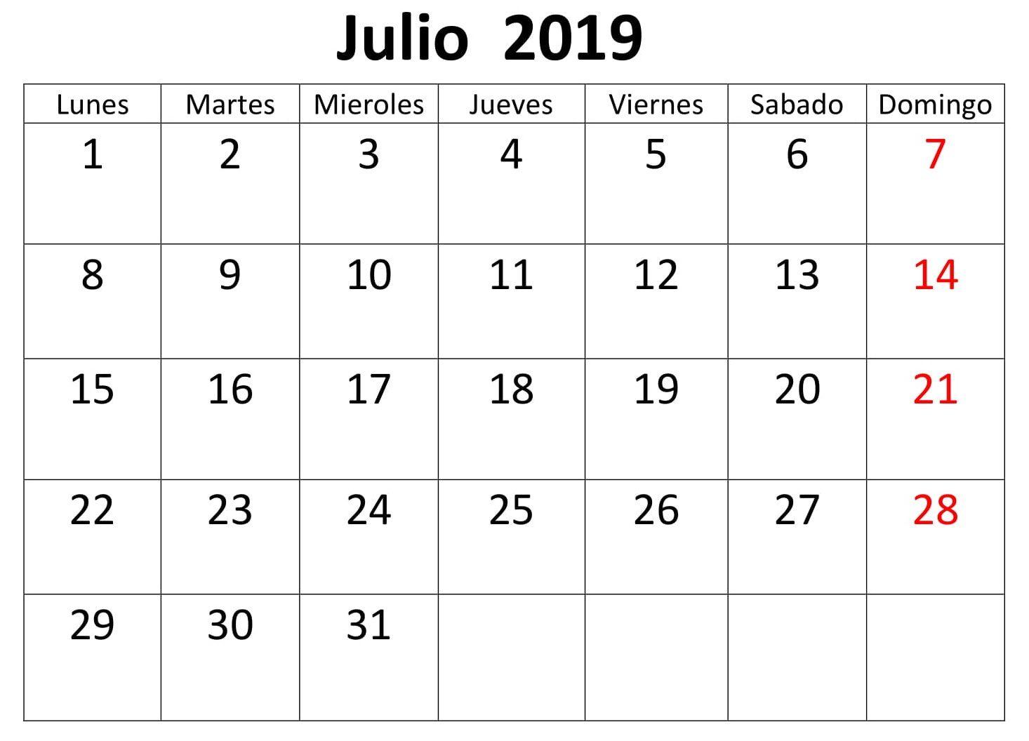 Calendario 2019 Julio Chile.Julio Calendario Estilos 2019 Para Imprimir Calendario