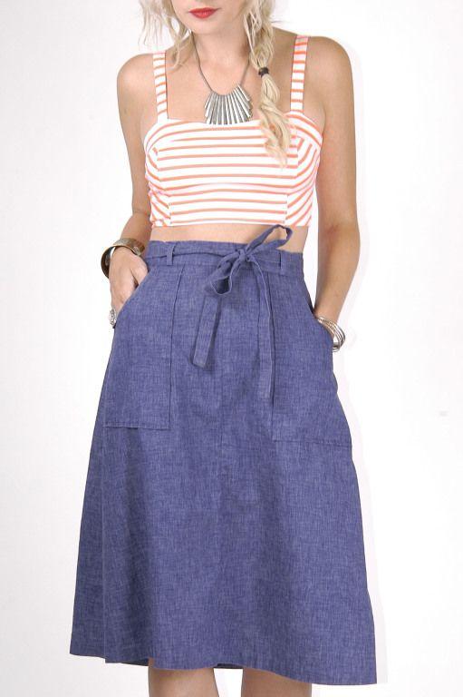 Vintage Denim Wrap Around Skirt - Skinny Bitch Apparel