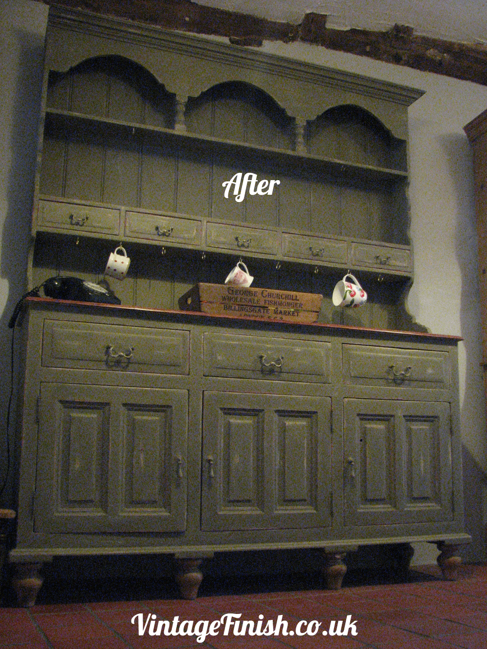 Hand Painted Dresser After, finished in Annie Sloan Olive over ...