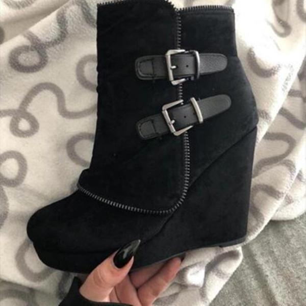 Womens Winter Ankle Zipper Buckle Platform Boots