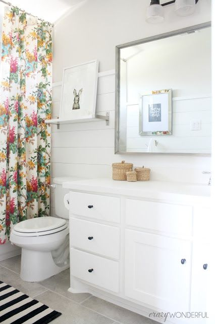 Shiplap S Bathroom Reveal Light Gray Walls White Cabinets Love The From Lowe And Mirror
