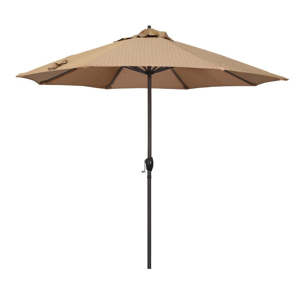 California Umbrella 9 ft. Aluminum Auto Tilt Patio Umbrella in Antique Beige Olefin ATA908117-F22 - The Home Depot
