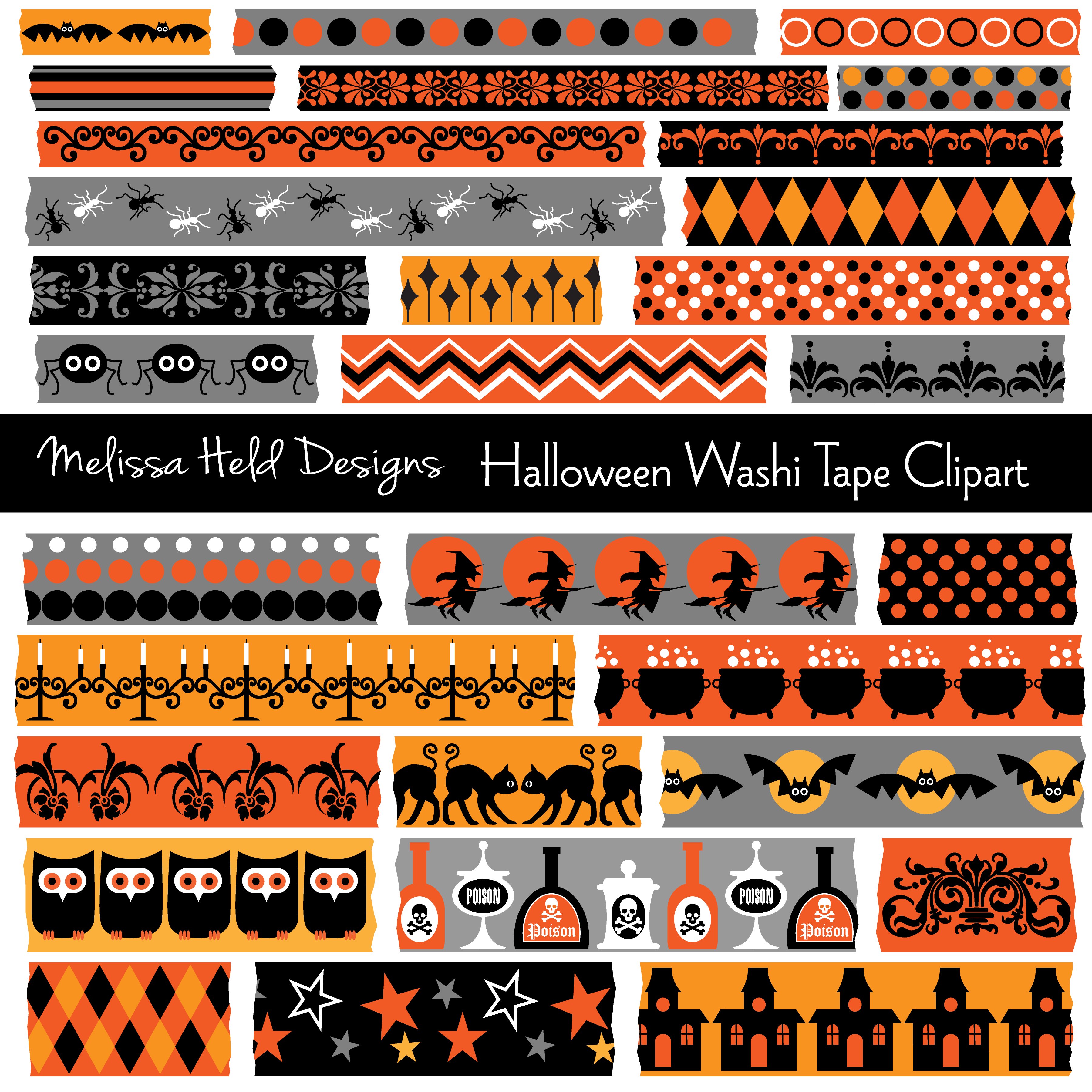 Halloween Bat Pattern Washi Tape