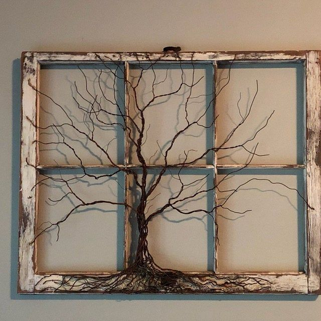 Unique Celtic Style Tree Of Life Dreamcather Metal Wire Etsy Window Crafts Old Window Projects Antique Windows