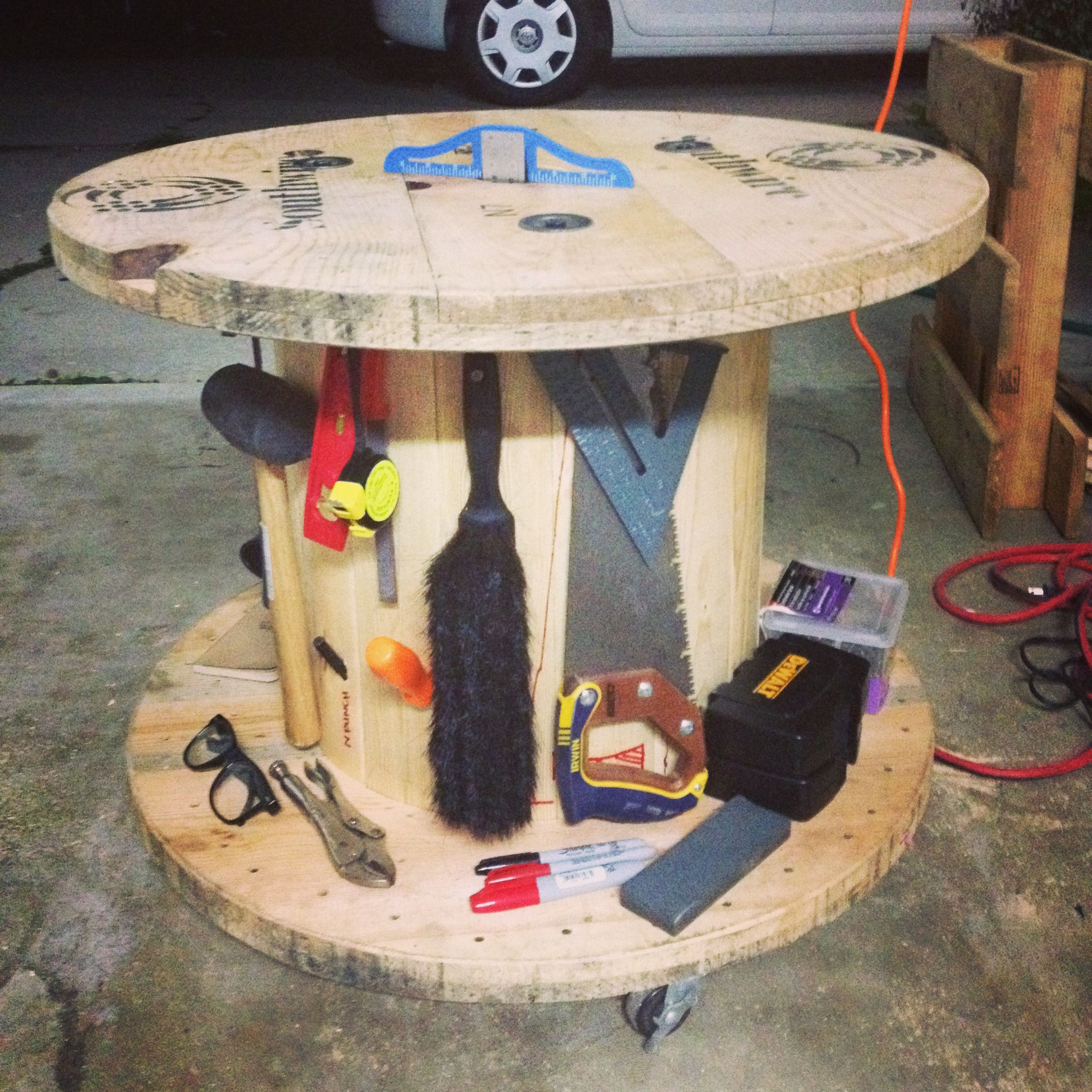 used cable spool, turned into a rolling tool cart and work bench ...