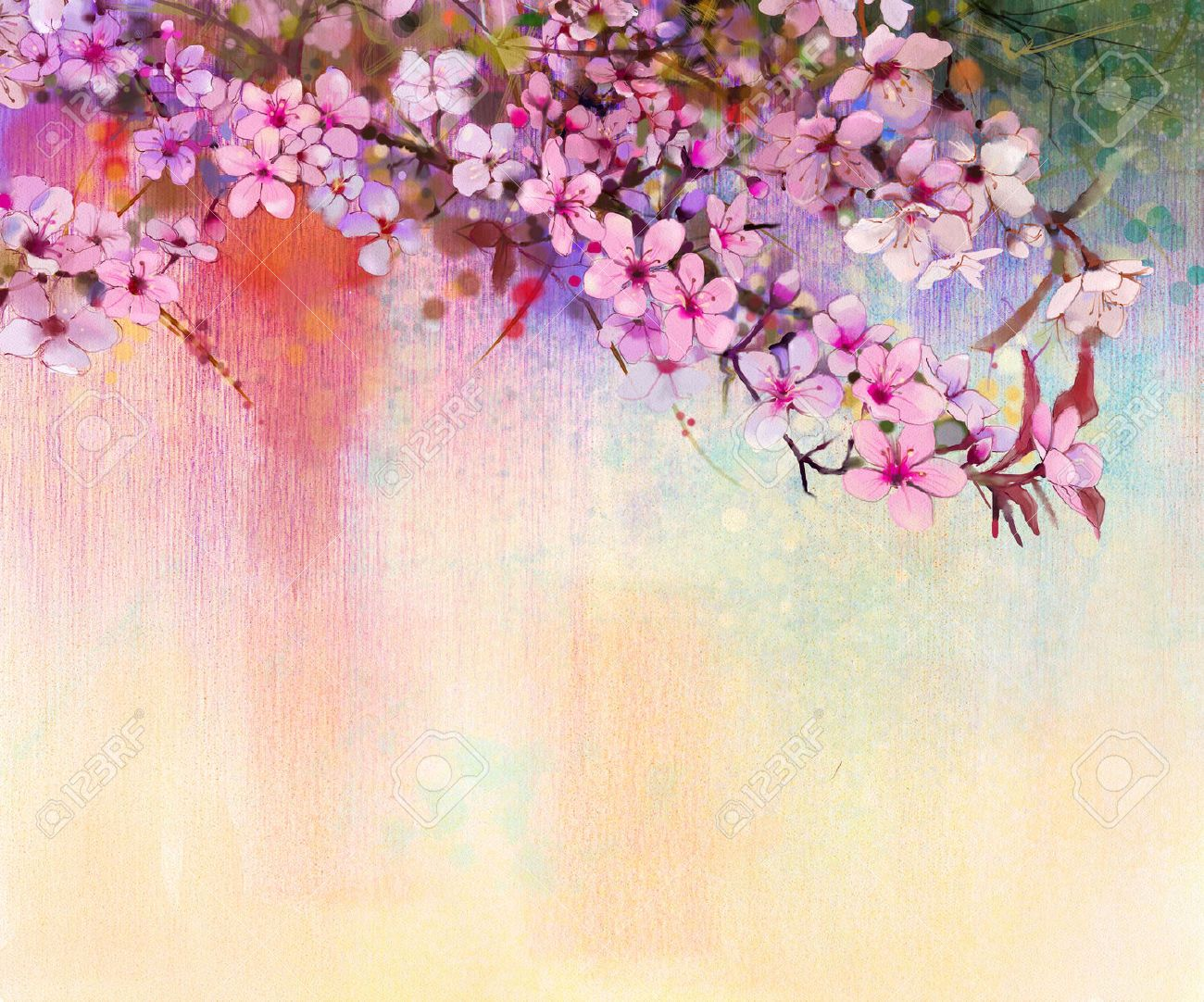 Watercolor Painting Cherry Blossoms Japanese Cherry Pink Watercolor Art Landscape Cherry Blossom Japan Watercolor Paintings