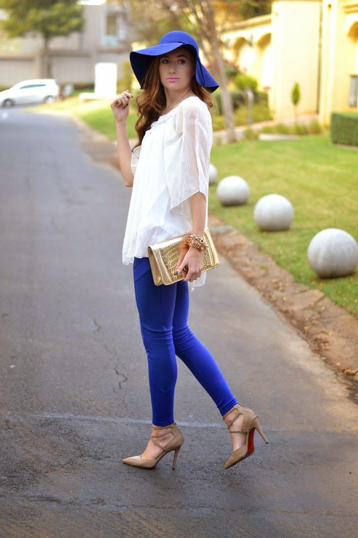 Cobalt blue, felt hat, gold clutch, red soles