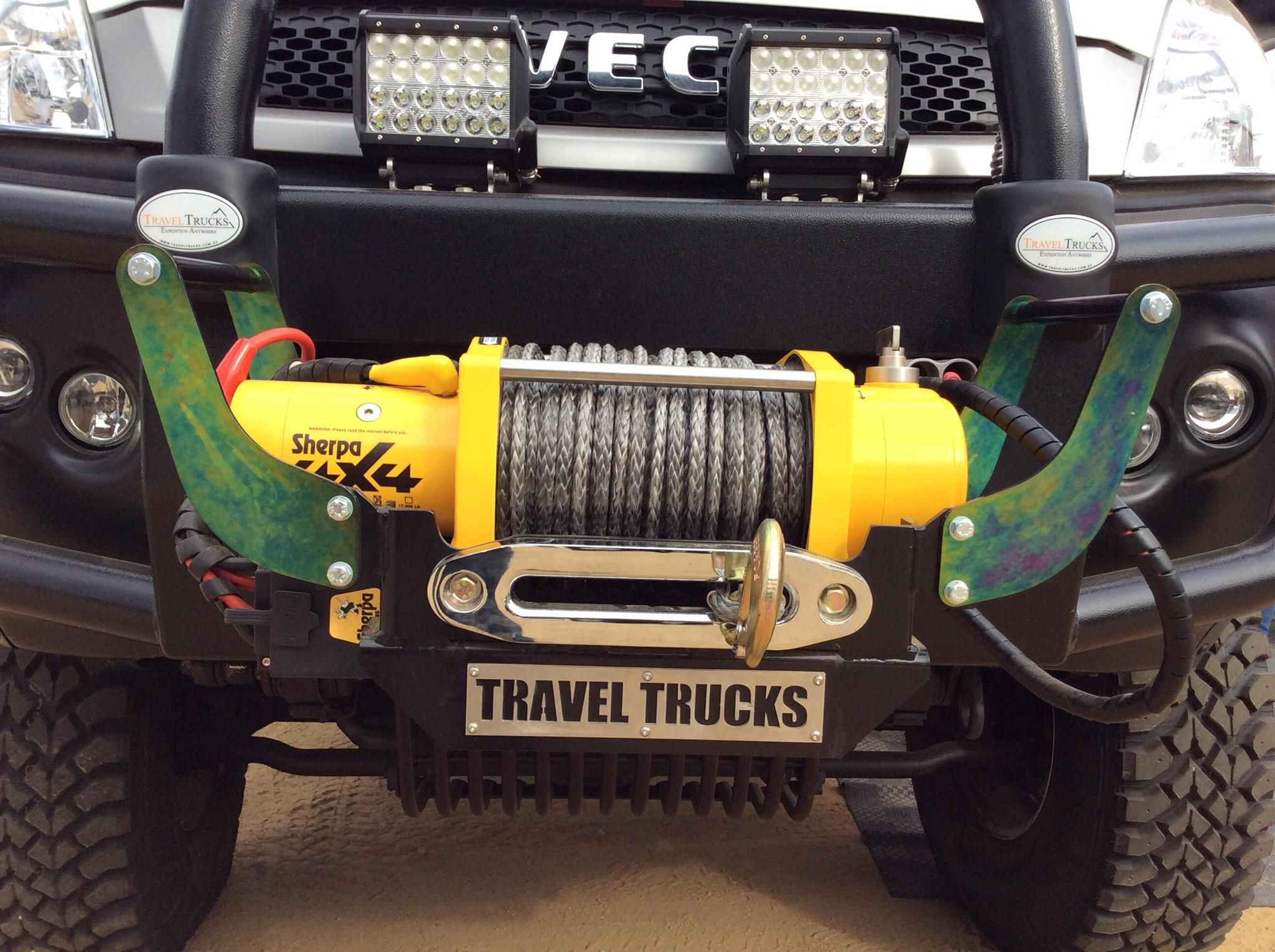 Sherpa 17000Lb 45 meter Dyneema rope winch mounted on a Travel