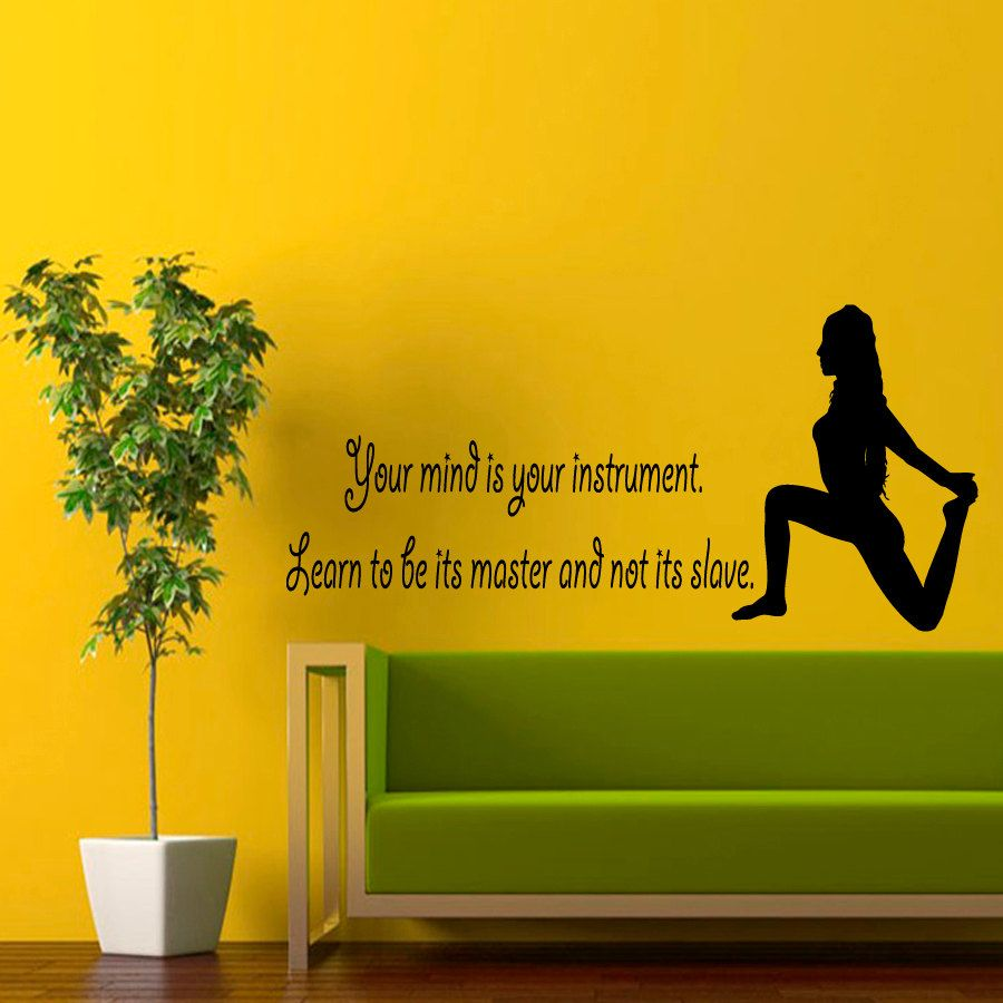Wall Decals Girl Quote Yoga Your Mind Is Your Instrument Learn To ...