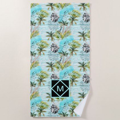 Abstract Watercolor Palm Tree Pattern Beach Towel Zazzle Com