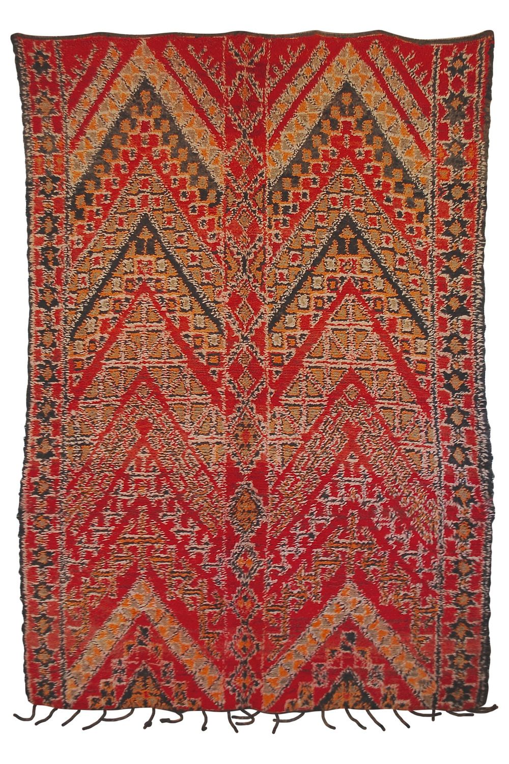 Just stunning vintage moroccan carpet with huge zig zag pattern