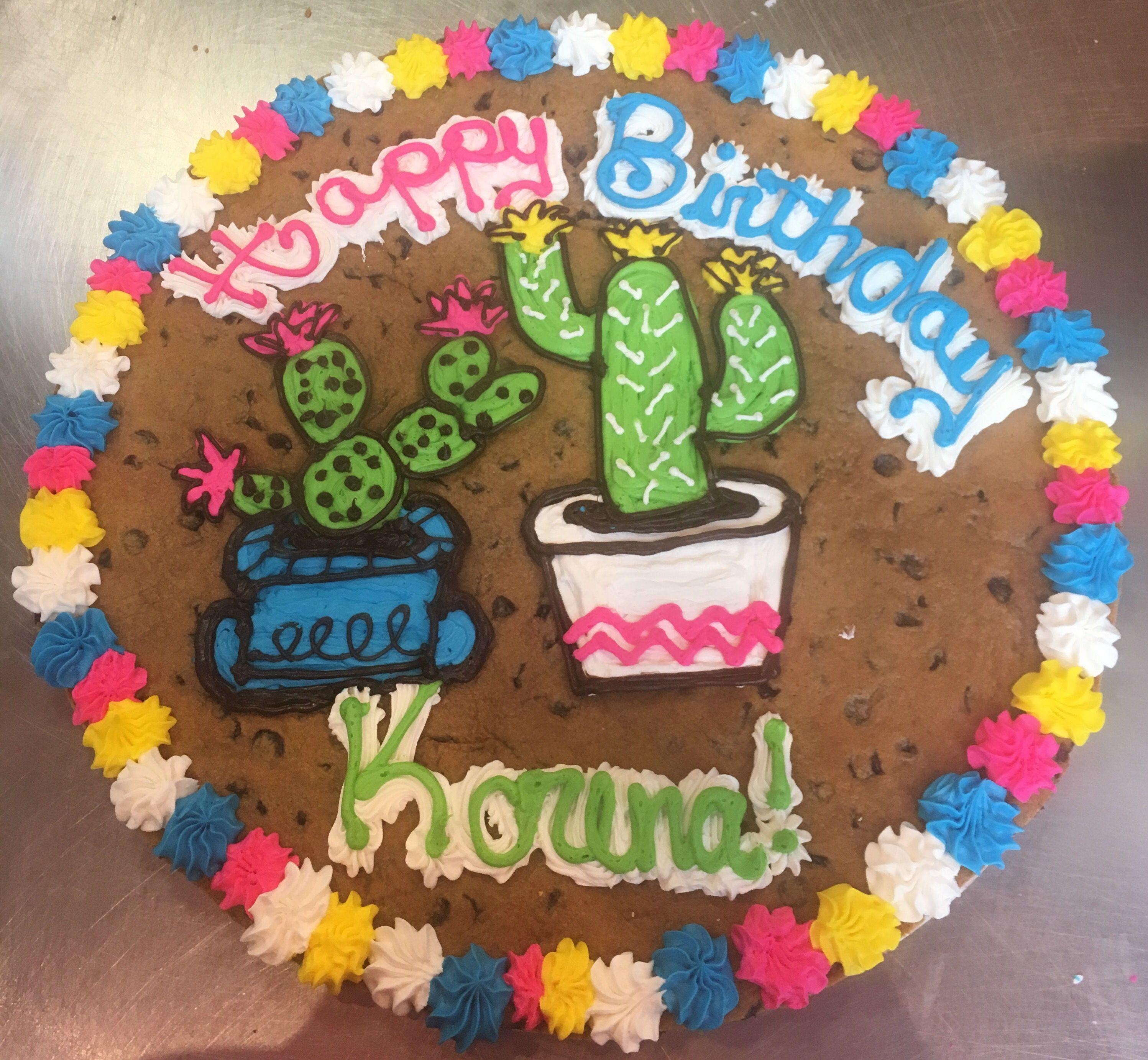 Cactus cookie cake cactus cookie decorating cookie cake