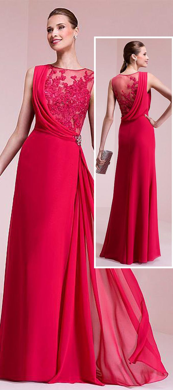Attractive chiffon jewel neckline aline prom dresses with lace