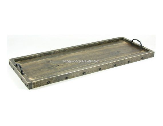Coffee Table Tray Wooden Buffet Table Tray Wood Long Narrow Ottoman Serving  Tray With Handles On