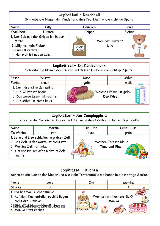 Logikrätsel 02 (+Lösung) | Mathe | Pinterest | Deutsch, Schule und ...