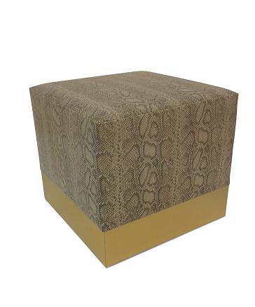 UMA Box Ottoman With Satin Brass  20W | BRADLEY