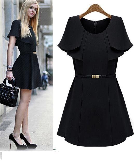 Morpheus Boutique  - Black Trench Celebrity Designer Pleated Belted Dress