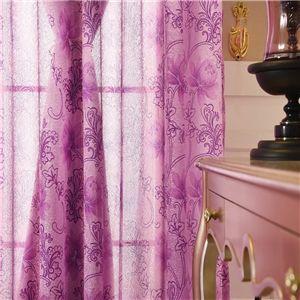 Elegante Gardine Lila Blumen Jacquard im Schlafzimmer