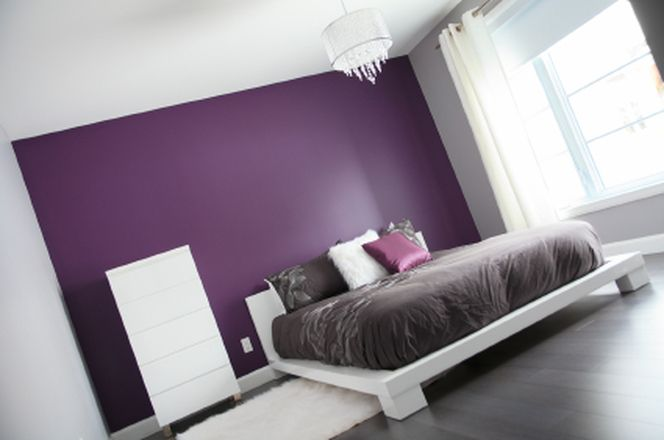 **Purple And Grey Bedroom Ideas: Option Is To Have Just One Wall Painted Inu2026