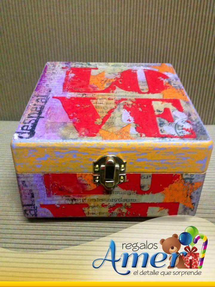 Caja Madera Decorada Regalos Amer Manualidad Love Amor Cajas De Madera Decoradas Cajas Decoradas Cajas
