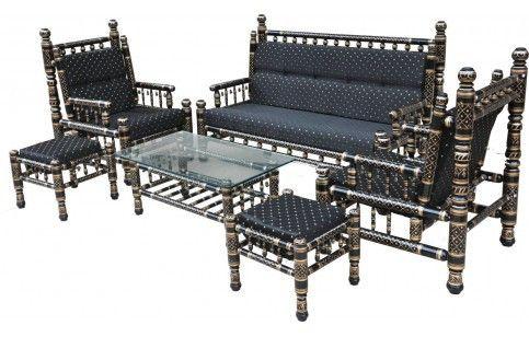 Traditional Style Sankheda Sofa Set 6 Pcs Indian Sofa