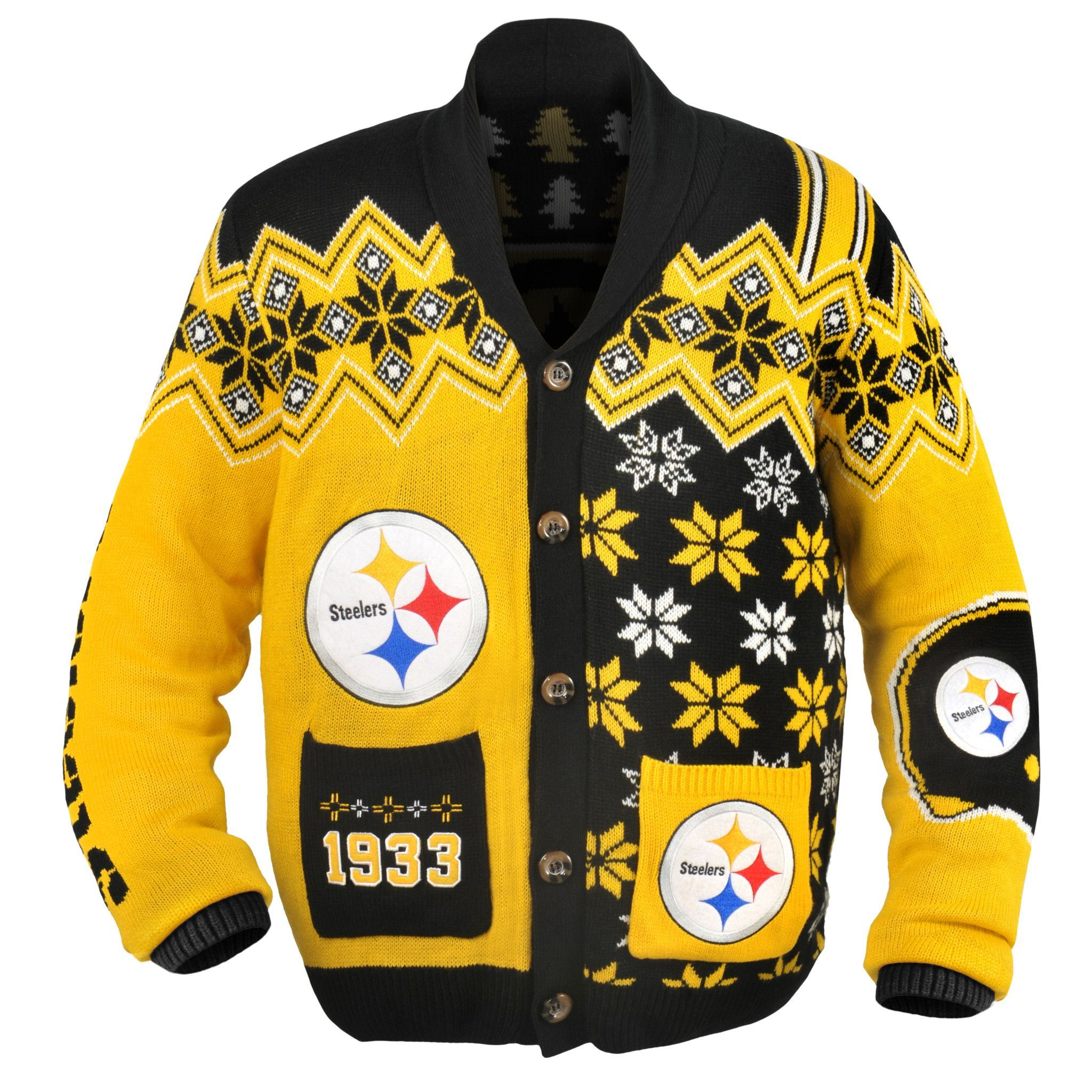 hot sale online a2bb9 492db Pittsburgh Steelers NFL Adult Ugly Cardigan Sweater | shit i ...
