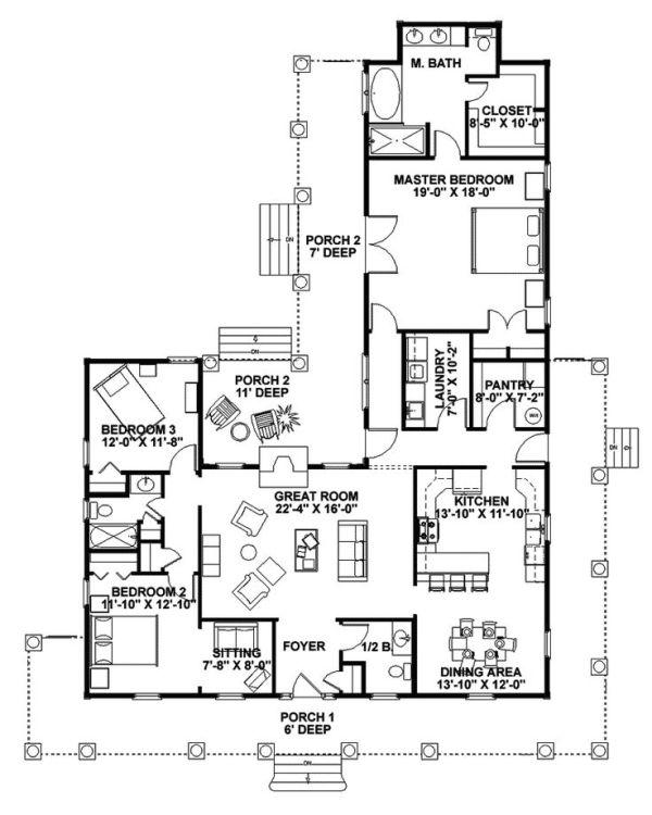 Farmhouse Floor Plans With Wrap Around Porch Traditional House Plan First Floor 028d 0054 Farmhouse Floor Plans Porch House Plans Country Style House Plans