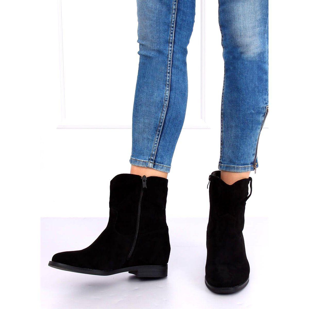 Botki Na Ukrytym Koturnie Czarne Nc980 Black Boots Black Boots Boot Shoes Women
