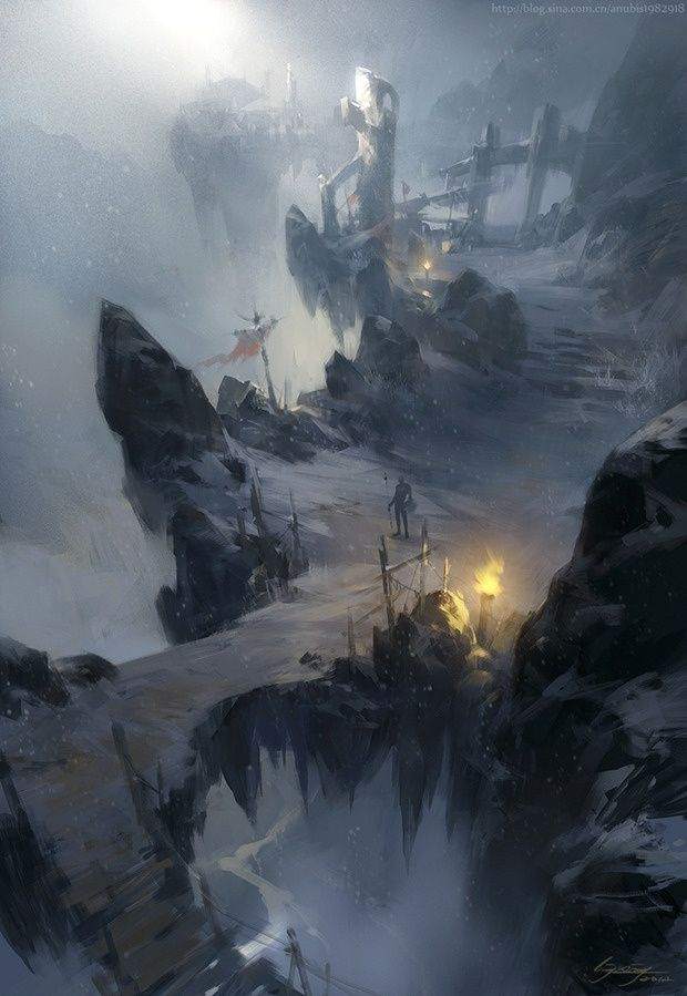 Snow Mountain By Ling Xiang Fantasy Illustration Fantasy