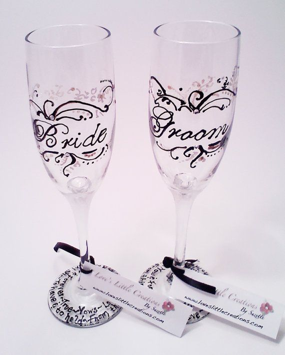 Bride Groom Hand Painted Wedding Gl