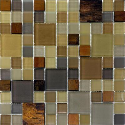 1SF  Copper Insert Pattern Glass Mosaic Tile Kitchen Backsplash Brown Beige  On EBay!