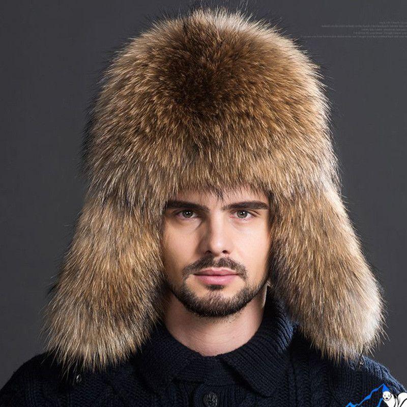 cfcc2f9a649 promo men warm fox fur hat package winter warm thick fur hat men outdoor  leather crown raccoon  mens  fur  hats