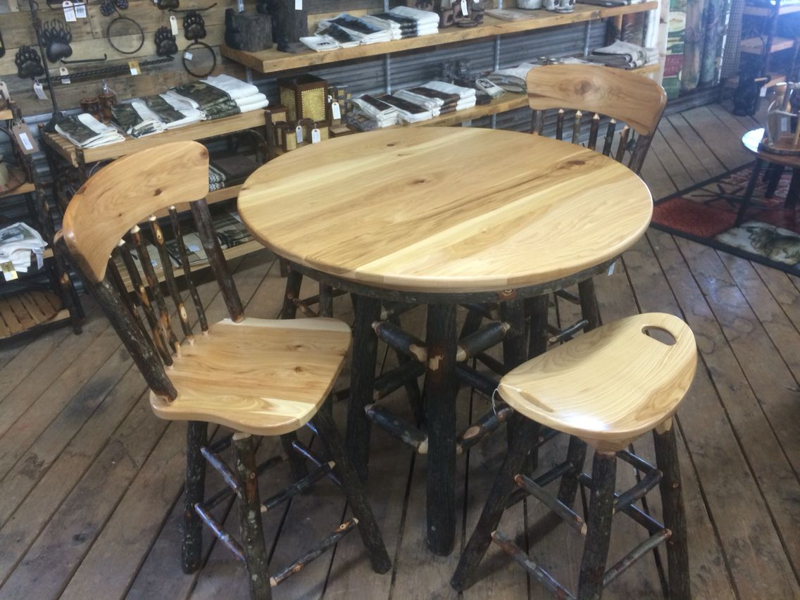 This Hickory Pub Table Is Handcrafted With A Solid Hickory Top And Rustic Hickory Logs For The Base Amish Craftsmen Han Pub Table Cabin Style Unique Furniture