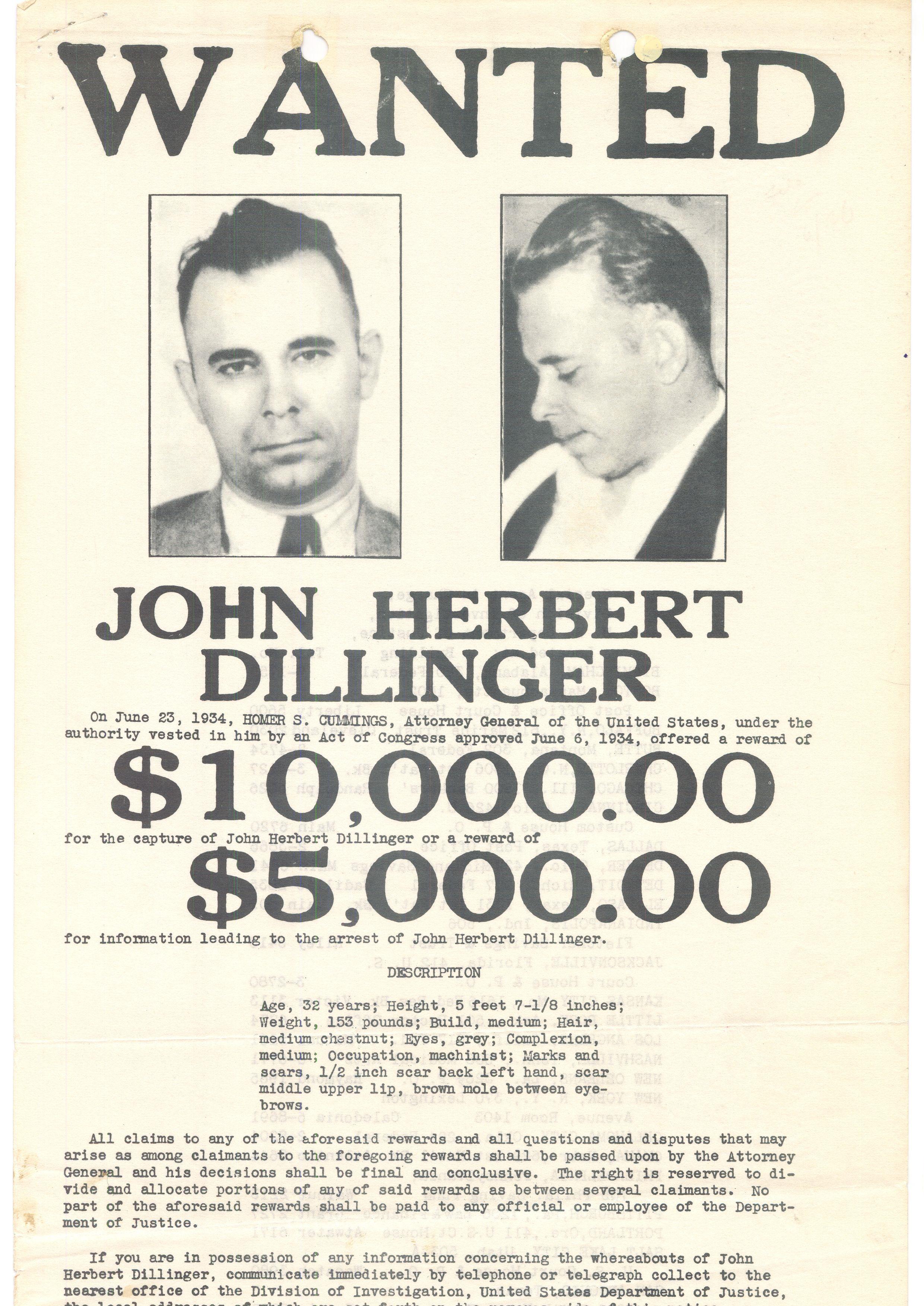 Wanted poster for John Dillinger