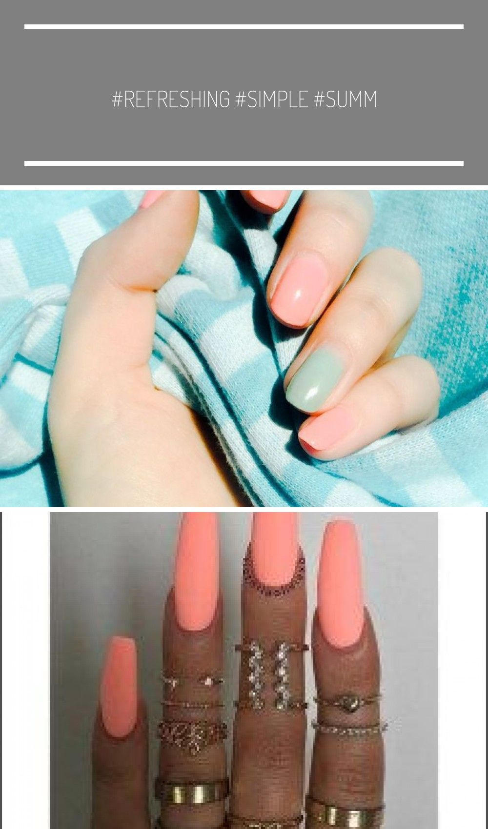 #refreshing #simple #summer #nails #coral #mintSimple –
