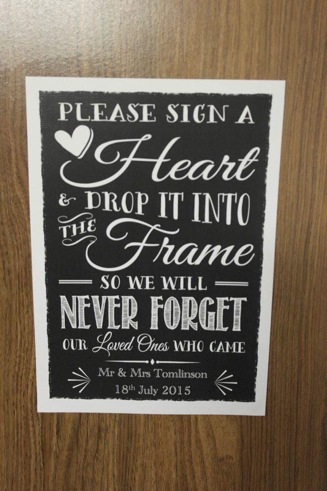 Wedding Drop Box Guest Book Instructions Personalised Vintage Chalk Style