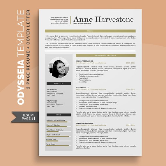 Creative Cv Template Resume Template Professional 2 Pages