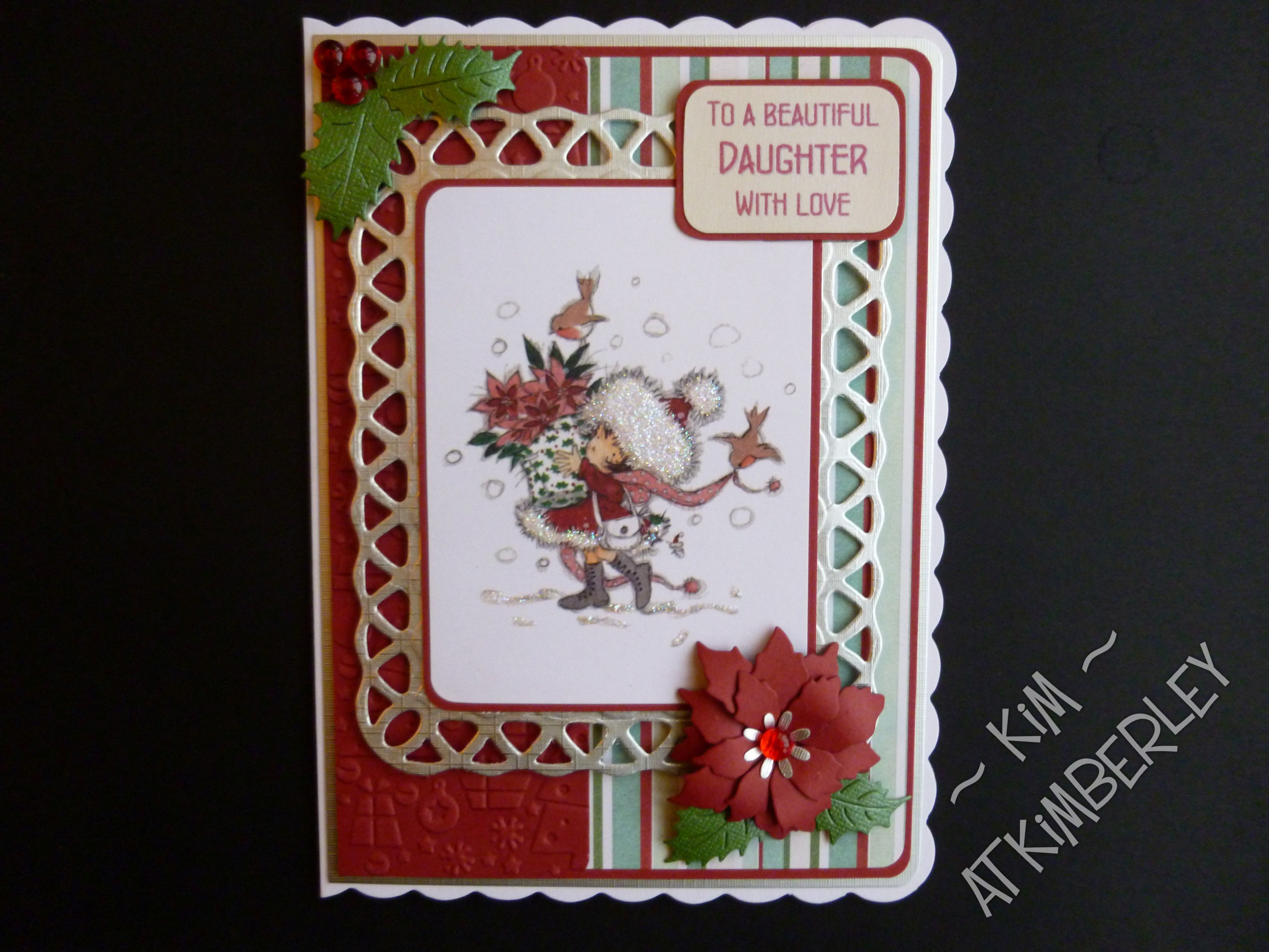 Christmas card using Lili of the Valley image.