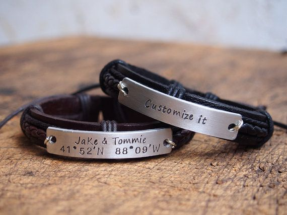Personalized Nameplate Bracelet Men S Coordinates By Designformen Gps Engraved Bracelets For Boyfriend