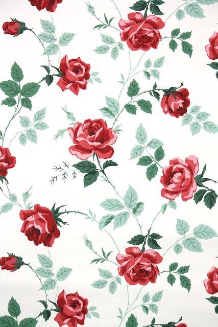 1950s Floral Vintage Wallpaper | Floral Vintage Wallpaper ...