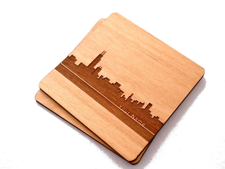Chicago Skyline - Custom, Laser Cut Alder Wood Coasters, Set of 4. $46.00, via Etsy.