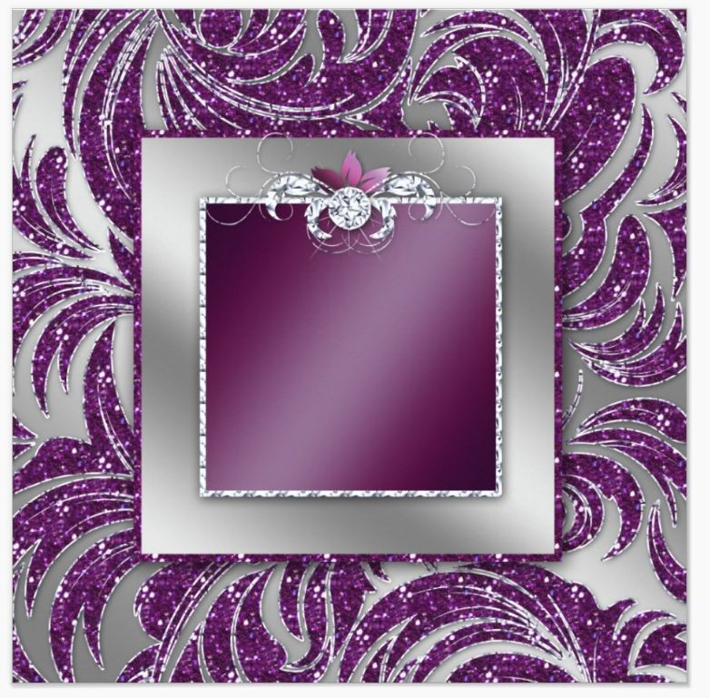 Silver purple glitter middle frame with diamond center for Purple and silver wallpaper